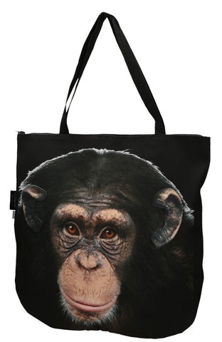 Animal Tote Bag with 3D Face of Chimpanzee #169