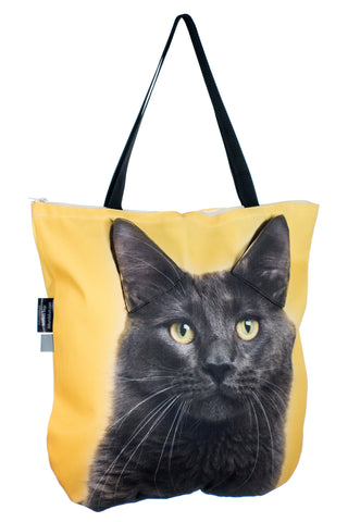 Animal Tote Bag with 3D Face of Maine Coon on Yellow #176