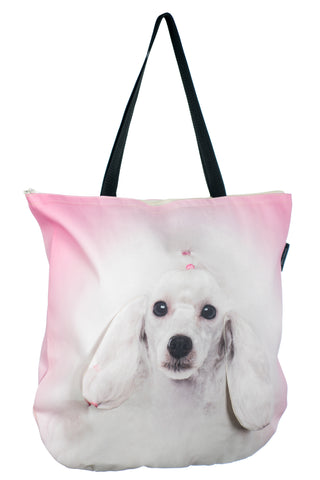 Animal Tote Bag with 3D Face of Poodle White #179