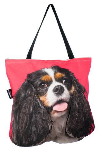 Animal Tote Bag with 3D Face of Cavalier King Charles Spaniel v.3 #184