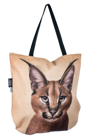 Animal Tote Bag with 3D Face of Caracal #185