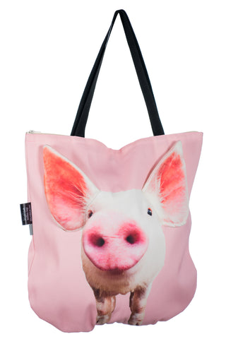 Animal Tote Bag with 3D Face of Piglet Babe #191