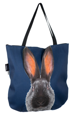 Animal Tote Bag with 3D Face of Hare on Navy #199