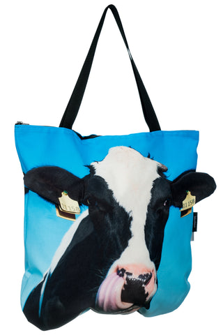 Animal Tote Bag with 3D Face of Cow Black & White #238