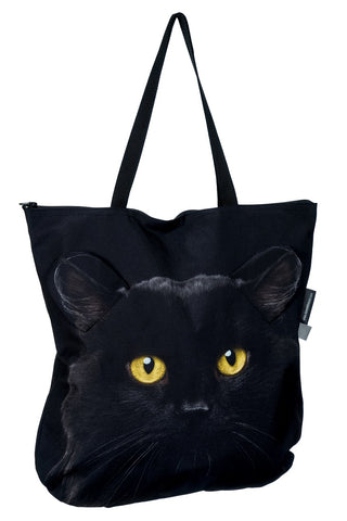 Animal Tote Bag with 3D Face of Black Cat v.4 #246