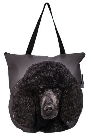 3D Tote Bag with Face of Poodle Black