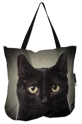 Animal Tote Bag with 3D Face of Black Cat v.5 #316