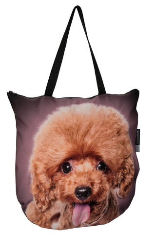 3D Tote Bag with Face of Poodle Brown