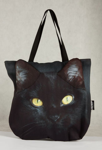 Animal Tote Bag with 3D Face of Black Cat v.1 #030