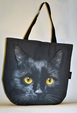 Animal Tote Bag with 3D Face of Black Cat v.2 #093