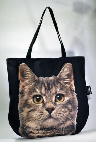 3D Tote Bag with Face of Brown Mackerel Tabby Cat