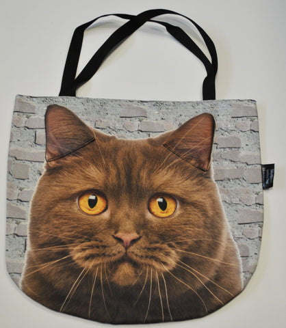 Animal Tote Bag with 3D Face of Brown Cat on a Brick Wall Background #003
