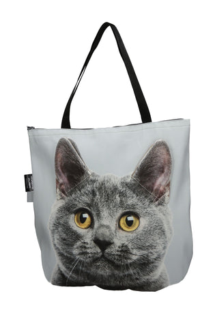3D Tote Bag with Face of Chartreux Blue Cat