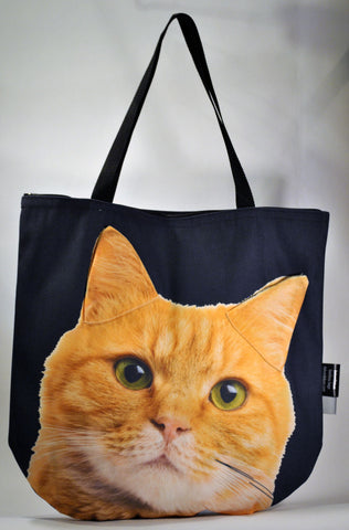 Animal Tote Bag with 3D Face of Ginger Cat #082