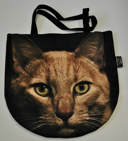 Animal Tote Bag with 3D Face of Gold Cat #001