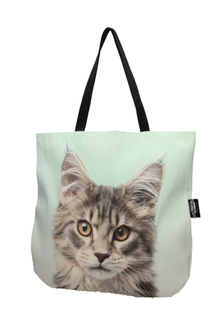 Animal Tote Bag with 3D Face of Maine Coon - Mackerel Tabby #125