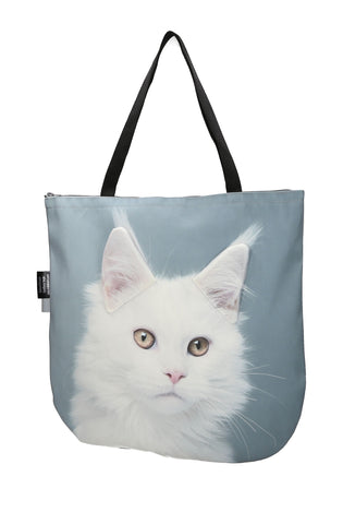 Animal Tote Bag with 3D Face of Maine Coon - White #143