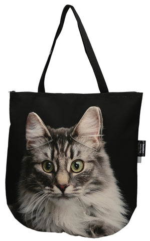 Animal Tote Bag with 3D Face of Norwegian Forest Cat - Mackerel Tabby #163