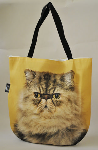 Animal Tote Bag with 3D Face of Persian Cat #050