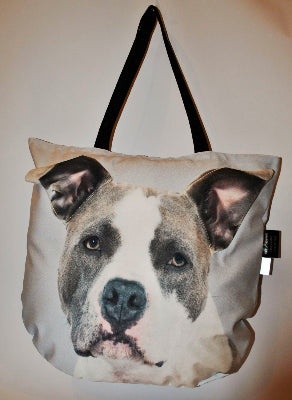 3D Tote Bag with Face of American Bull Terrier
