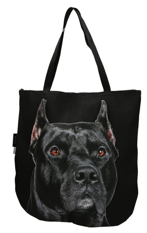 3D Tote Bag with Face of American Staffordshire Terrier, Amstaff - Black