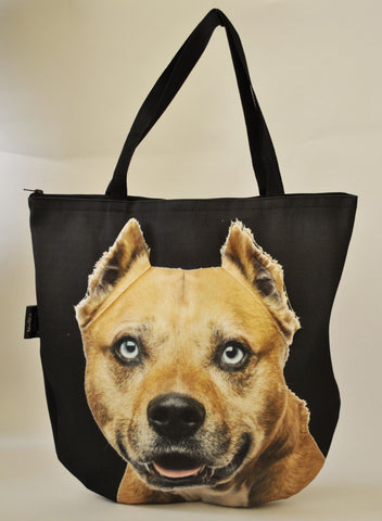 3D Tote Bag with Face of American Staffordshire Terrier, Amstaff - Fawn