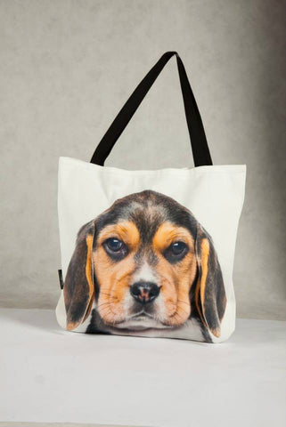 Animal Tote Bag with 3D Face of Beagle #026
