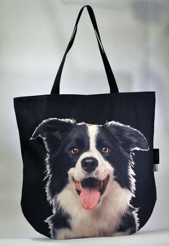 Animal Tote Bag with 3D Face of Border Collie v.2 #087