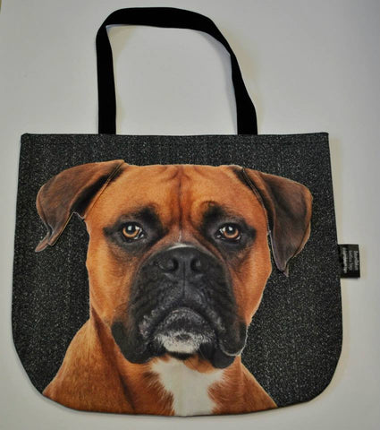 Animal Tote Bag with 3D Face of German Boxer #007