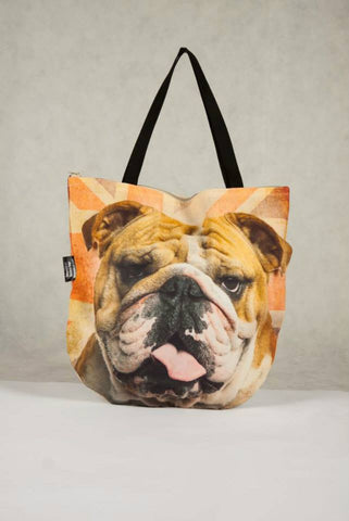Animal Tote Bag with 3D Face of British Bulldog on the Union Jack background #023