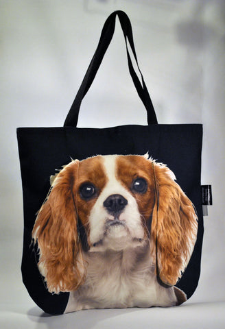 Animal Tote Bag with 3D Face of Cavalier King Charles Spaniel v.1 #092