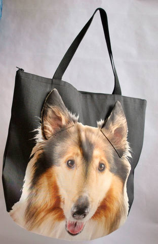 Animal Tote Bag with 3D Face of Sheltie, Shetland Collie Lassie #035