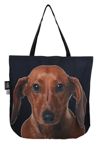 Animal Tote Bag with 3D Face of Dachshund Red #109