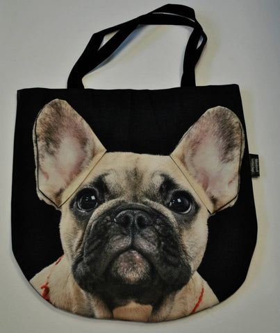 Animal Tote Bag with 3D Face of French Bulldog Beige v.1 #008