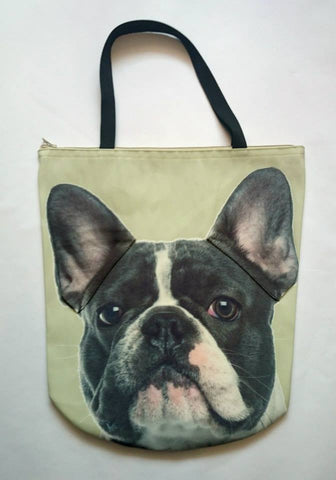 Animal Tote Bag with 3D Face of French Bulldog Black & White #016