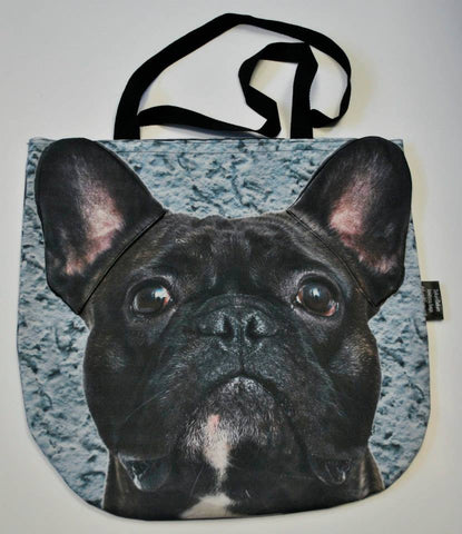 3D Bag with Face of French Bulldog in Black Color