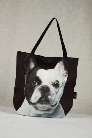 3D Bag with Face of French Bulldog Piebald