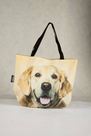 Animal Tote Bag with 3D Face of Golden Retriever #022