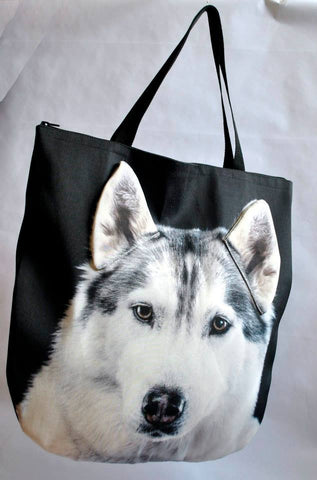 Animal Tote Bag with 3D Face of Husky #032