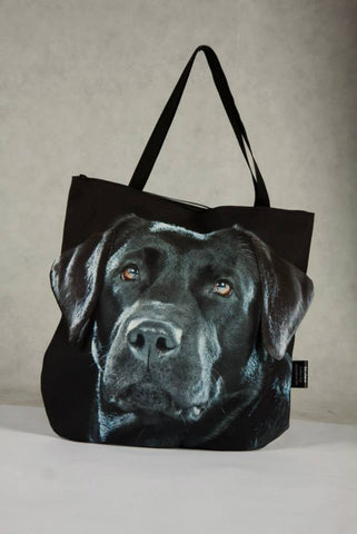 Animal Tote Bag with 3D Face of Labrador - Black #025