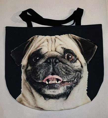 3D Bag with Face of Smiling Pug