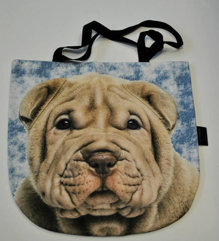 Animal Tote Bag with 3D Face of Sharpei #006