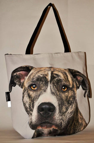 3D Tote Bag with Face of American Staffordshire Terrier, Amstaff - Brindle