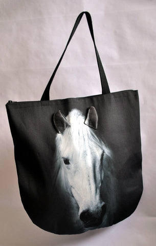 Animal Tote Bag with 3D Face of Horse White #031