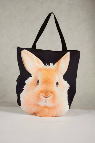 Animal Tote Bag with 3D Face of Rabbit #024