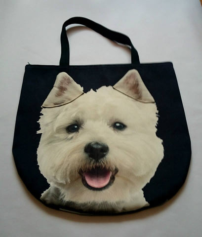 Animal Tote Bag with 3D Face of Westie, West Highland White Terrier #017