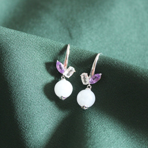 [Made-to-Order] Dazzle Collection - Two Gems Hook Earring in White Jade