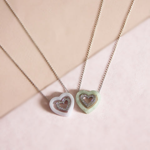 Double Happiness - Graceful Heart  Necklace in Lavender Jade