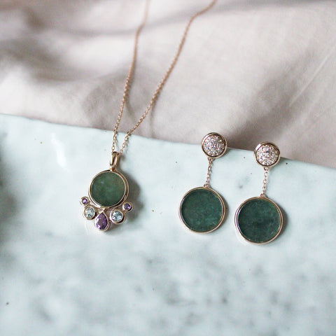 Sphere Jade Earring (9K Solid Gold)
