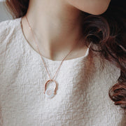 Convertible Horseshoe Necklace/Ring (9K Solid Rose Gold)